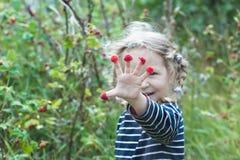 Regocijado dos años de la muchacha rubia mostrar la frambuesa roja del jardín da fruto Imágenes de archivo libres de regalías