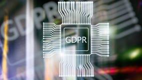 Regolamento generale di protezione dei dati di GDPR Fondo astratto della stanza del server di doppia esposizione fotografia stock libera da diritti