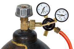 Regolatore di pressione del gas con manomete Fotografie Stock Libere da Diritti