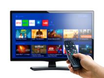 Regolatore a distanza della mano che indica ad Internet o all'esposizione su richiesta della TV immagine stock