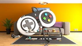 Regolatore enorme del gamepad su un sofà royalty illustrazione gratis