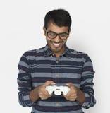 Regolatore indiano Console Cheerful Concept del gioco dell'uomo immagine stock