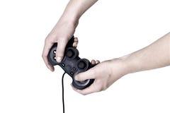 Regolatore maschio del video gioco della stretta della mano Fotografie Stock Libere da Diritti
