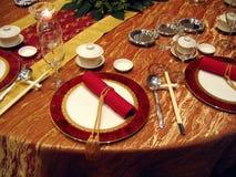 Regolazione cinese della tabella di banchetto di cerimonia nuziale Fotografia Stock Libera da Diritti
