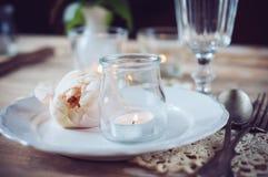 Regolazione d'annata della tavola con la rosa di beige Immagini Stock Libere da Diritti