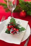 Regolazione decorata della tavola di Natale Immagini Stock