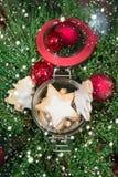 Regolazione dei biscotti e degli ornamenti di inverno Fotografia Stock