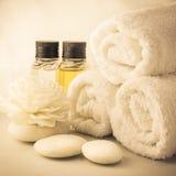 Regolazione della stazione termale con gli asciugamani nella stanza del bagno Fotografia Stock Libera da Diritti