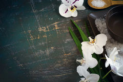 Regolazione della STAZIONE TERMALE con le orchidee ed il sale marino bianchi di fioritura Spazio per Fotografie Stock Libere da Diritti