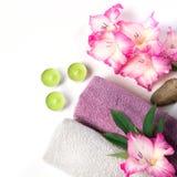 Regolazione della stazione termale dell'asciugamano, fiore, caffè su bianco Copi lo spazio distendasi Fotografia Stock