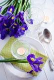 Regolazione della Tabella con i fiori porpora dell'iride fotografie stock libere da diritti