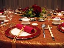 Regolazione della tabella di banchetto di cerimonia nuziale Fotografie Stock