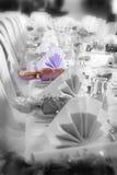 Regolazione della tabella di compleanno o di cerimonia nuziale, enfasi di colore Fotografia Stock Libera da Diritti