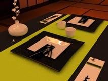 Regolazione della Tabella nello stile giapponese Immagini Stock Libere da Diritti