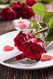 Regolazione della Tabella per il giorno di biglietti di S. Valentino Fotografia Stock Libera da Diritti