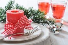 Regolazione della tavola di Natale Fotografia Stock