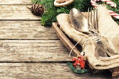 Regolazione della tavola di Natale nel retro stile Immagine Stock Libera da Diritti