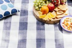 Regolazione di picnic con la frutta fresca e gli spuntini Fotografia Stock Libera da Diritti