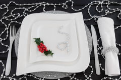 Regolazione di posto della cena di Natale Immagini Stock Libere da Diritti