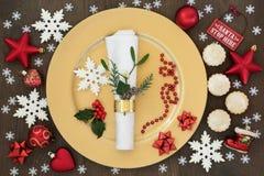 Regolazione di posto della cena di Natale Fotografia Stock