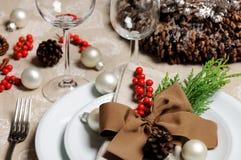 Regolazione di posto di Natale Fotografia Stock