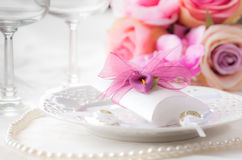 Regolazione di posto di nozze Immagine Stock Libera da Diritti