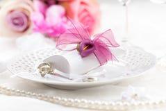 Regolazione di posto di nozze Immagini Stock
