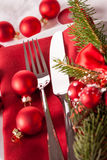 Regolazione di posto di tema rossa di Natale Immagini Stock