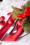 Regolazione di posto di tema rossa di Natale Immagine Stock Libera da Diritti