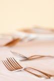 Regolazione elegante del ristorante se coltelleria pranzante fine Fotografia Stock