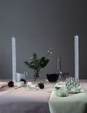 Regolazione elegante della Tabella Natale cena romantica - tovaglia, coltelleria, candele, fiori, germogli Fotografia Stock