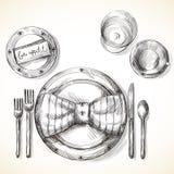 Regolazione festiva della tavola royalty illustrazione gratis