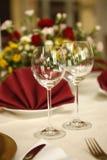 Regolazione fine della tabella nel ristorante gastronomico Immagine Stock