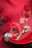 Regolazione romantica della tabella di giorno del biglietto di S. Valentino Immagini Stock Libere da Diritti