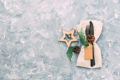 Regolazione rustica della Tabella di Natale immagini stock libere da diritti