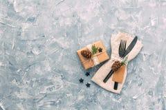 Regolazione rustica della Tabella di Natale fotografie stock