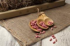 Regolazione rustica della tavola con i cucchiai di legno ed i semi crudi, primo piano Fotografie Stock Libere da Diritti