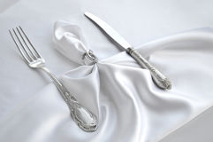 Regolazione solenne della tavola Forcella d'annata e coltello Immagine Stock Libera da Diritti