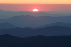 Regolazione Sun dalla cupola del Clingman Immagini Stock
