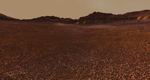 Regolith Field and Small Crater on Mars Royalty Free Stock Photography