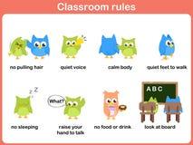 Regras da sala de aula para crianças ilustração stock