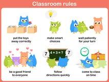 Regras da sala de aula para crianças ilustração do vetor