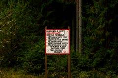 Regras de conduta na floresta Imagem de Stock Royalty Free