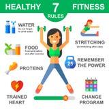 Regras de estilo de vida saudável ilustração stock