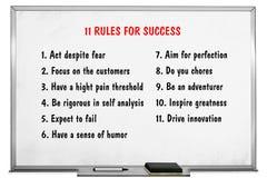11 regras dos valores no fundo da placa branca foto de stock royalty free