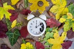 Regredice il cambiamento di tempo Due orologi sul fondo delle foglie di autunno immagini stock libere da diritti