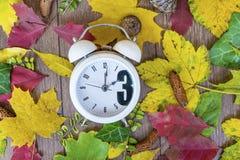 Regredice il cambiamento di tempo Orologio d'annata sul fondo delle foglie di autunno Immagini Stock