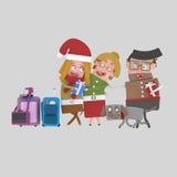 Regreso al hogar de la Navidad Hija y padres 3d Imagen de archivo