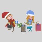 Regreso al hogar de la Navidad Pares con las maletas 3d Imágenes de archivo libres de regalías