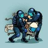 Regression and progress concept, police arrested the astronaut. Pop art retro vector illustration vintage kitsch drawing Stock Image